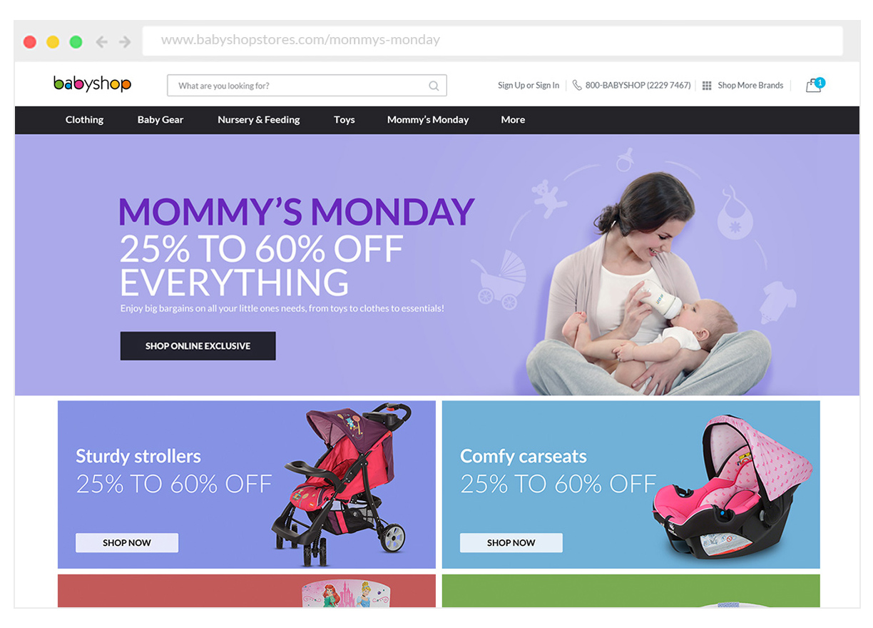 Get online exclusive discounts on Mommy's Monday.